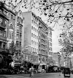 Collins St, #Melbourne 1935, south side, looking west from Russel St
