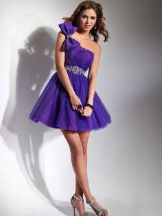 Corte de baile un sólo hombro corto/mini tul sin mangas vestido con bordado - Missydress.es