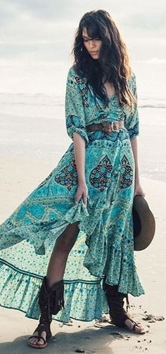 Green Floral Maxi Dress, Black Sandals   Beach Boho   Spell & The Gypsies Source