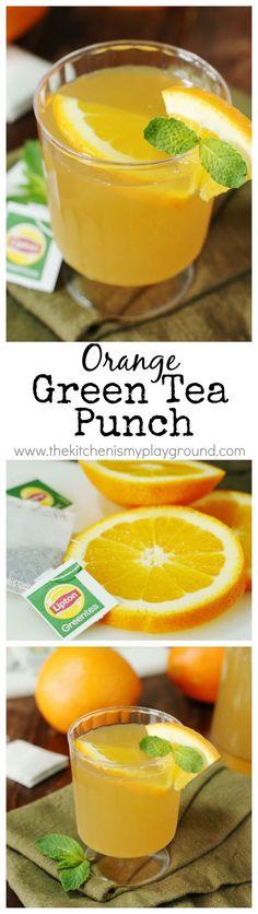 Orange-Green Tea Punch ~ Green tea and fresh orange juice beautifully combine to create one very tasty tea-based punch!   www.thekitchenism...