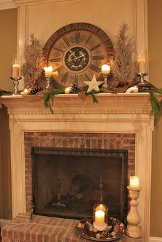 I love this mantle! I think the clock adds a nice touch.