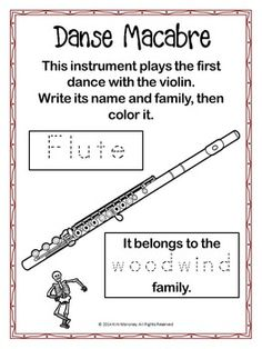 HALLOWEEN: DANSE MACABRE LISTENING WORKSHEETS GRADES 1-4 For the music classroom.        #musiceducation     #musedchat