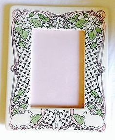 Photo-Frame-Santa-Barbara-Ceramic-Design-Bunnies-Rabbits-Flowers-Signed-8-X-10 Ceramic Design, Santa Barbara, Bunny Rabbit, Rabbits, Bunnies, Ceramics, Frame, Flowers, Decor
