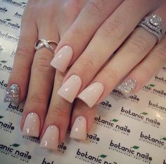 Pretty soft pink flare tip, duck feet nails with glitter | nail art design ideas