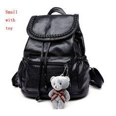 PLEEGA New 2017 Women Backpack Lovely Bear Dolls Book Bag Preppy School  Backpack Leather Black School Bag Teenager Girl Backpack 6320c34b73