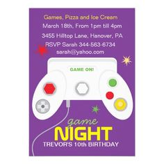 Boys Video Game Birthday Party Invitations