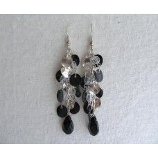"""""""Silver Metal Dangles"""": Silver, black disk, clusters of crystals, dangle to a drop   3 1/2"""" length   $35"""