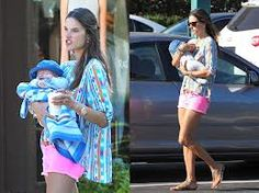 Alessandra Ambrosio in Joe's Jeans High Rise Shorts in Hot Pink.