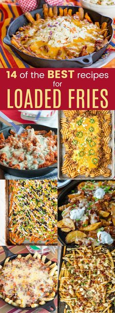 14 of the Best Loaded Fries Recipes - these loaded French fries covered in toppings are amazing. Takes poutine to a new level! #frenchfries #loadedfries #loadedfrenchfries #poutine #discofries #sweetpotatofries #fries