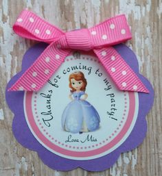 Sofia the first birthday favor tags Sophia by MerryMakersPapier
