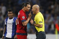 Zlatan Ibrahimovic PSG's forward reacts against the match referee Howard Webb during the UEFA Champions League matchday 2 group A, between FC Porto and Paris Saint Germain FC at Dragao Stadium, Portugal on October 3rd (Photo Credits: Miguel Angelo Pe The planet most complete online casino. - http://www.playdoit.com/
