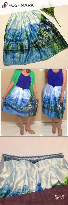 """Scenic Midi Skirt Beautiful, bright and bold midi skirt with a scenic landscape in greens, blues and yellows. Beautiful pleats and a full skirt. Side zip. Waist is solid band in front and elastic in back. Supposed to be one size fits all. but it best fits a small or medium. (Please use measurements for sizing: length 25.5"""", elastic waist that stretches from 13"""" across to 16"""" across). Skirts Midi"""