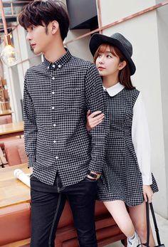 Match dress to shirt Korean Fashion Summer, Korean Fashion Casual, Asian Fashion, Matching Couple Outfits, Matching Couples, Cute Couples, Fashion Couple, Fall Fashion Outfits, Kpop Fashion
