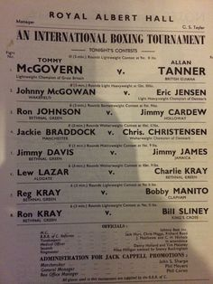 Kray Twins fight programme. 11th December 1951. Charlie Kray v's Lew Lazar. Reg Kray v's Bobby Manito. Ronnie Kray v's Bill Sliney.
