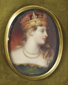 Princess Charlotte of Wales (1796-1817). A miniature copy of the portrait painted by George Sanders, showing Charlotte wearing a green velvet dress trimmed with gold, a ruby belt clasp, double strand of pearls and a coronet. The original was in the possession of the Leopold I, her husband.