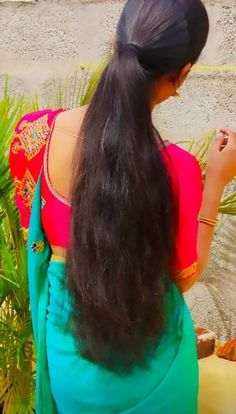 Long Bob Hairstyles, Indian Hairstyles, Ponytail Hairstyles, Desi Girl Image, Lovely Girl Image, Long Hair Ponytail, Braids For Long Hair, Long Indian Hair, Saree Poses
