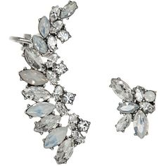 Marchesa Mismatch Ear Climbers, Set of 2 ($83) ❤ liked on Polyvore featuring jewelry, earrings, ear climber earrings, ear climbers jewelry and marchesa