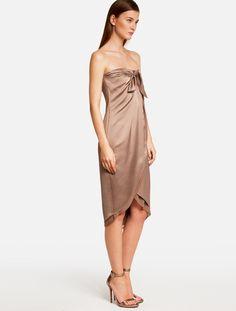 Halston Heritage -STRAPLESS SATIN DRESS-WARM-TAUPE-0