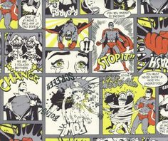 Super Hero Comic Strip Cotton Fabric by Kokka Japanese Import - I want to make a skirt out of this!!