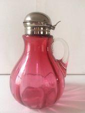 ANTIQUE CRANBERRY GLASS SYRUP PITCHER DISPENSER
