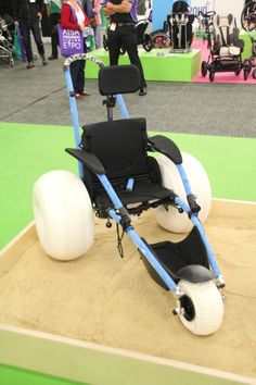 The Hippocampe Beach Wheelchair, designed for use at the beach. It floats too.