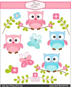 Digital clip art: Owls and Butterfly, owls clip art, pink, blue. $4.80 USD, via Etsy.
