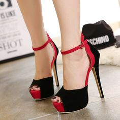 dc423341e8f Womens Stylish Peep Toe Ankle Strap Stiletto High Heels