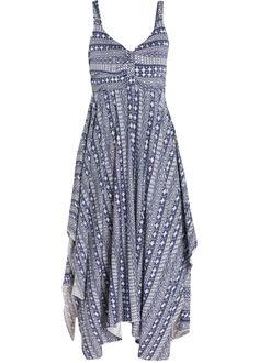 Vestido com pontas assimétricas crú/azul escuro estampado  encomendar agora na loja on-line bonprix.com.br  R$ 109,90 a partir de Uau! Este vestido é para ...