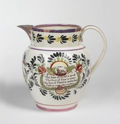 SUCCESS TO SHIPPING TRADE,' SUNDERLAND OR NEWCASTLE CREAMWARE ENAMEL-DECORATED, PURPLE LUSTRE AND TRANSFER-PRINTED JUG, 1825-30.