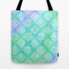Soft Doodle Pattern in White, Purple, Mint & Aqua Tote Bag by micklyn - $22.00