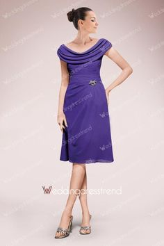 [$106.99] Draped Ruched Knee-length A-line Scoop Neck Mother of the Bride Dress