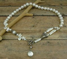 Keishi Fresh Water Pearl & Bali Sterling Silver Beads Handcrafted Necklace
