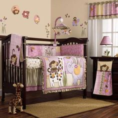 Pink and Purple Jungle Safari Animals Baby Girl 8PC Crib Bedding Nursery Set - I love this for a girl!!