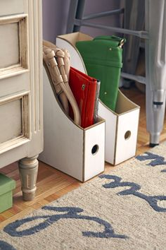 Wooden magazine file boxes to stores clutches. Easy to view and to grab on the go!