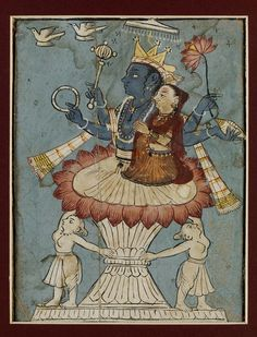 Painting, opaque watercolour on paper, Vishnu sits with Lakshmi on a lotus throne with pink petals and an unpainted, waisted base flanked by two female figures. Vishnu is four-armed, and holds in his right hands the chakra and the mace, and in his left the lotus and the conch. A striped scarf is draped over his arms. Lakshmi is sombrely clad, in orange bodice and skirt with a reddish-brown odhni over her head. Mandi, India late 18th century