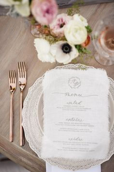 Linen menus & rose gold table accents: http://www.stylemepretty.com/2015/09/28/romantic-malibu-vineyard-wedding/   Photography: Jana Williams - http://jana-williams.com/