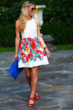 Love bright color patterns + waisted, full skirts