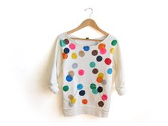 Colorful Confetti Hand STENCILED Deep Scoop Neck Heather Sweatshirt in Cream Multi Rainbow - S M L XL 2XL 3XL. $62.00, via Etsy.