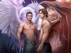 HAHAHAHAHA, found this AWESOME fan art of Sam & Dean Winchester as Lucifer & Michael