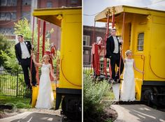 bride and groom on train at the train station in kankakee http://corlisandmegangray.com