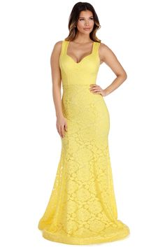 Leyla Yellow Lace Gown