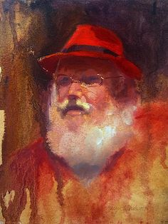 Impressionistic Santa with Rockin Red Fedora, painted from life, oil painting by Karen Whitworth