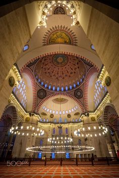 Suleymaniye Mosque by Marco Pompeo Photography on 500px....... Interior view of Suleymaniye Mosque or Süleymaniye Camii (Istanbul - Turkey)