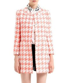 Pink Multicolor Houndstooth Pattern Print Slim Fit Cotton Coat @ ChicNova $55