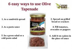 Tripsas olives s.a. (@tripsasolive) / Twitter Olive Paste, Sandwich Spread, Tapenade, Olives, Crackers, Dog Food Recipes, Avocado, Sandwiches, Pizza
