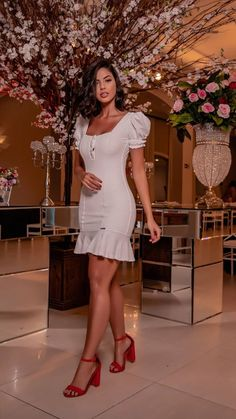 Short Sleeve Dresses, Dresses With Sleeves, White Dress, Fashion, Dresses, White Dress Outfit, Moda, La Mode, Gowns With Sleeves