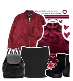 """you put colour into my love"" by enola-pycroft ❤ liked on Polyvore featuring Stussy, Monki, Witchery, Giani Bernini, outfit, red, grunge, burgundy and organised"