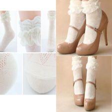 Mujer elegante Tobillo Calcetines Encaje Volantes Chica Medias Socks