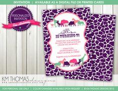Zoo Animals Birthday Invitation: Girls Birthday Party - Safari Birthday - Zoo Party  - Digital - Printable - Purple/Pink - #107a by KMThomasDesigns on Etsy https://www.etsy.com/listing/119052859/zoo-animals-birthday-invitation-girls