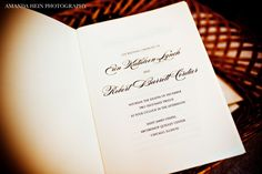 Classic, navy wedding program by Courtney Callahan Paper {Photo via Amanda Hein Photography|
